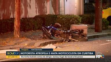 Motorista atropela e mata motociclista em Curitiba - O motorista tinha bebido antes de dirigir. Ele tentou fugir do local e foi preso.
