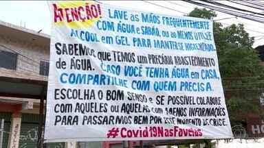 Moradores de comunidades do Rio entram na luta contra o coronavírus - A Secretaria de Saúde do Rio confirmou a terceira morte por Covid-19. Neste sábado (21), as ruas ficaram mais vazias e, nas comunidades, os próprios moradores arregaçaram as mangas na luta contra o vírus.