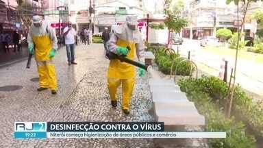 Niterói começa higienização de áreas públicas e comércio - O município de Niterói tem o segundo maior número de casos do estado. As calçadas e os bancos da cidade começaram a ser sanitizados nesta segunda (23). São Gonçalo também registrou casos do novo coronavírus.