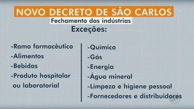 Prefeitura de São Carlos recomenda fechamento de indústrias e paralisação de obras - Veja as exceções. Empresa pode apresentar motivos para continuar em funcionamento no portal do coronavírus da prefeitura.