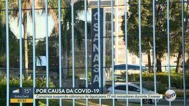 Coronavírus: Campinas isenta cobrança de água para consumo até 10m³ por mês - Para as demais moradias, será repetida a tarifa de 2019. Medida para famílias de baixa renda incluídas na tarifa social da Sanasa foi anunciada na quarta-feira (25), terceiro dia da quarentena por conta da pandemia de Covid-19.