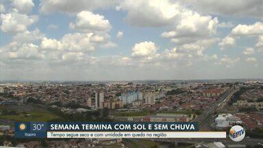 Previsão do tempo mostra sol para esta sexta-feira (27) na região de Campinas - O tempo segue seco e com umidade em queda na região. Piracicaba tem temperatura máxima de 29°C e Campinas de 28°C.