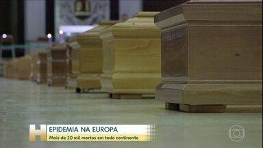 Número de mortos passa de 20 mil na Europa - Os europeus estão em casa para evitar que a doença se espalhe.