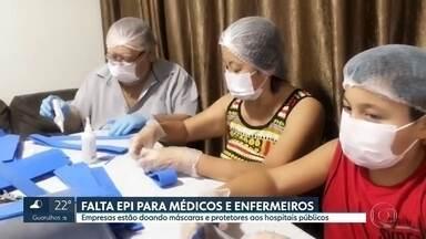Com falta de equipamentos de proteção individual, hospitais contam com doações - Hospitais públicos estão recebendo materiais de uma rede de pessoas e empresas que estão confeccionando itens para garantir a saúde e a proteção de médicos e enfermeiros.