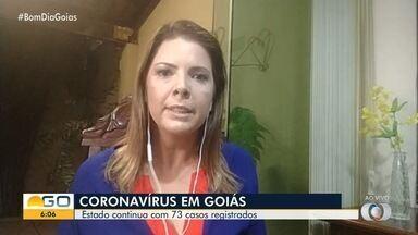 Goiás segue com mais de 70 casos confirmados de Covid-19 - Uma morte foi confirmada e outras três são investigadas pela Secretaria de Saúde.