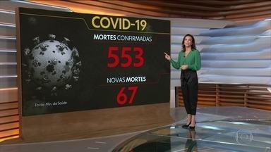 Brasil tem mais de 500 mortes e 12 mil casos confirmados de coronavírus - Ministério da Saúde apontou que o país tem 553 mortes, sendo 67, em 24h.