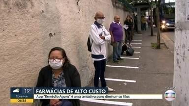 Faixas são pintadas em frente ao AME Maria Zélia para manter distanciamento dos usuários - Medida foi adotada após aglomeração para evitar contaminação do coronavírus