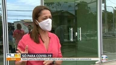 Niterói ganha hopital com 40 leitos so para pacientes com coronavírus - Hospital será inaugurado nesta sexta-feira (10) para pacientes com a Covid-19. Ele vai funcionar na região oceânica.