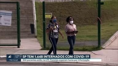 Parentes de pacientes internados com Covid-19 esperam horas por informação nos hospitais - Segundo dados da Secretaria estadual de Saúde, estado de São Paulo tem mais de 1,6 mil pessoas internadas com o novo coronavírus.