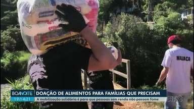 Voluntários se mobilizam para doar alimentos em Ponta Grossa - A mobilização solidária é para que pessoas sem renda não passem fome
