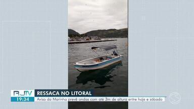 Marinha prevê ondas com até três metros de altura na Costa Verde - Comunicado alerta sobre ressaca no mar entre quinta-feira e sábado.