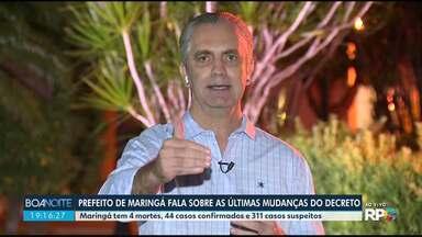 Covid-19: prefeito fala sobre últimas mudanças do decreto em Maringá - Confira a entrevista com Ulisses Maia.