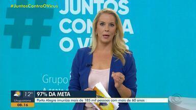 Porto Alegre imuniza mais de 185 mil pessoas com mais de 60 anos - Assista ao vídeo.