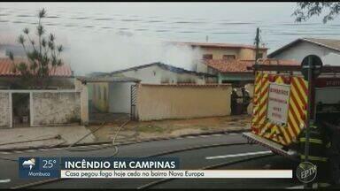 Incêndio atinge casa no bairro Nova Europa, em Campinas - Caso aconteceu na manhã desta terça-feira (14). Ninguém ficou ferido.