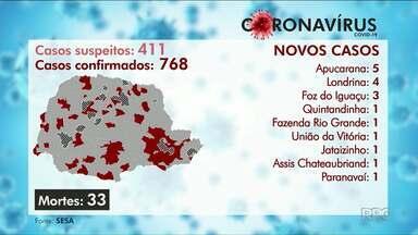 O coronavírus já matou 33 pessoas no Paraná - E pelo menos 768 já se infectaram com o Covid-19 no Estado.