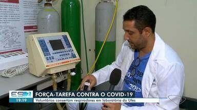 Voluntários consertam respiradores em laboratório da Universidade Federal do ES - Professores da Ufes e empresas estão consertando aparelhos respiradores para serem usados no tratamento de pacientes com Covid-19