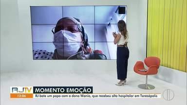 Veja o registro da paciente com caso confirmado de Covid-19 recebendo alta do hospital - Moradora de Teresópolis, RJ, Wania da Cunha, de 67 anos, fala sobre a sensação de estar curada da doença em entrevista com a equipe do RJ1, nesta quarta-feira (15)