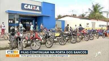População forma filas na entrada de bancos para tirar dúvidas sobre auxílio emergencial - Saiba mais em g1.com.br/ce