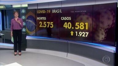 Brasil tem quase 2,6 mil mortes por Covid-19 - Segundo o Ministério da Saúde, são 40.500 infectados. Só na segunda (20), foram 113 mortes.