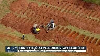 Prefeitura faz contratações emergenciais para cemitérios - O gasto com equipamentos e mão de obra será de R$ 16 milhões. todo esse investimento visa aumentar a proteção dos profissionais que trabalham nos cemitérios da cidade.