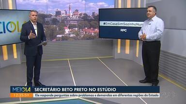 Secretário responde a perguntas sobre problemas e demandas em todas as regiões do Paraná - O Estado tem . casos confirmados de coronavírus.
