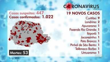 Sobe para 1.022 o número de casos confirmados de Covid-19 no Paraná - Das 399 cidades do Estado, 105 já registraram algum caso da doença. Secretário Estadual de Saúde, Beto Preto, fala sobre medidas de contenção da doença no Paraná.
