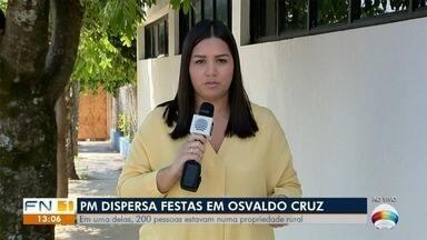 Na quarentena, Polícia Militar flagra duas festas com mais de 200 pessoas em Osvaldo Cruz - Eventos aconteciam em lugares distintos na madrugada desta terça-feira (21).