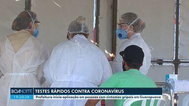 Prefeitura de Guarapuava começa a aplicar teste rápido em pessoas com sintomas de gripe - Os testes rápidos começaram a ser usados pela secretaria municipal de saúde na tarde desta terça-feira (21).