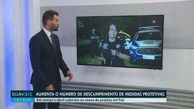Patrulha Maria da Penha registra aumento de descumprimento de medidas protetivas - Em março e abril houve aumento também de prisões.