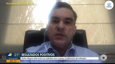 Especialista fala sobre resultados de Covid-19 positivos obtidos em Porto Alegre - Porto Alegre está entre as cidades com menor incidência de infecção.
