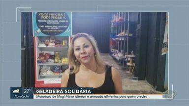Moradora de Mogi Mirim oferece e arrecada alimentos para quem precisa - A Carla Machado disponibilizou uma geladeira solidária para quem quiser doar alimentos e para as pessoas em situação de vulnerabilidade que precisam deles.
