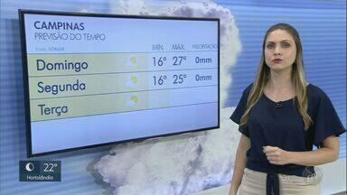 Domingo (26) tem baixa umidade e variação de temperatura na região de Campinas - Dia começa com temperatura baixa e aumenta ao longo do período.
