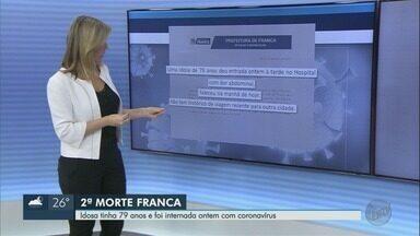 Prefeitura de Franca, SP, confirma 2ª morte pelo novo coronavírus - Idosa de 79 anos internada com dores abdominais na noite de sexta-feira (24) testou positivo para a doença.