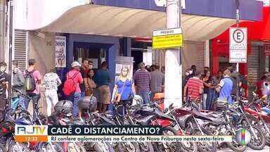 RJ1 confere aglomerações no Centro de Nova Friburgo, no RJ - População não está respeitando as regras de isolamento social.