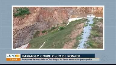 Barragem corre risco de rompimento no Sertão - Barragem Pedra Lisa fica no município de Imaculada.