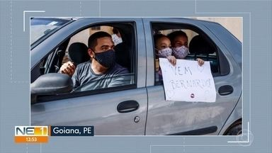 Chá de bebê vira carreata com entrega de fraldas em Goiana - Festa foi para Bernardo, que nasceu nesta quarta-feira (29).