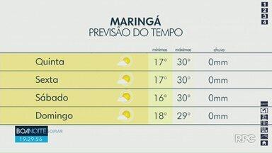 Quinta-feira será de sol e calor na região de Maringá - Massa de ar seco segue atuando em todo o Paraná.