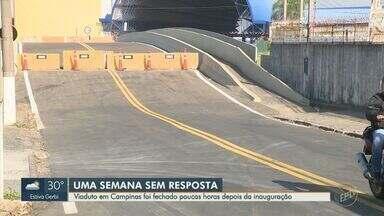 Ponte que liga 2 bairros em Campinas é fechada novamente e impasse se arrasta por 10 anos - Estrutura liga o Jardim Garcia ao Jardim Pacaembu. Autoban fechou trecho por falta de adequações nas obras.