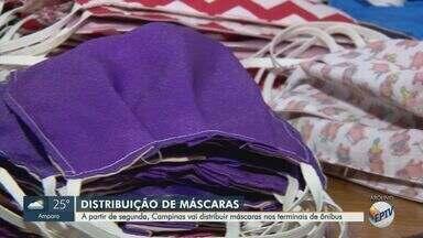 Prefeitura de Campinas vai distribuir 6 mil máscaras em terminais de ônibus - Distribuição acontece a partir de segunda-feira, quando passa a valer o decreto que obriga uso de máscaras no transporte.