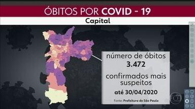 São Paulo tem mais de 32 mil casos confirmados da Covid-19 - Mortes chegam a 2.654 no estado. Prefeitura de São Paulo fez um mapa mostrando a evolução da doença na capital, desde a primeira morte até o fim de abril.