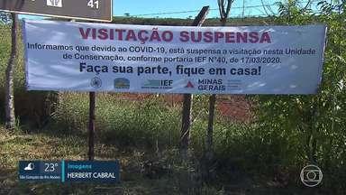 Em Brumadinho, a prefeitura pediu ajuda a PM para fiscalizar pontos turísticos - No fim de semanas, vários turistas foram ao Topo do Mundo e na Serra do Rola Moça mesmo com os locais interditados e com a fixação de tapumes e faixas.