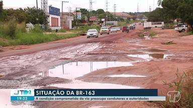 Trecho urbano da BR-163, em Santarém, está intrafegável - No sábado (2), uma pessoa morreu em um acidente de trânsito em um trecho da rodovia.