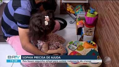 Pais fazem vaquinha para ajudar no tratamento de filha que tem crise de convulsões - Saiba como ajuda a pequena Sophia.