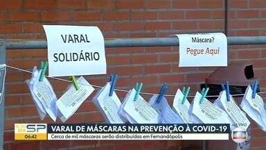 Varal de máscaras em Fernandópolis - Mil máscaras estão sendo doadas para a população.