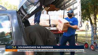 Solidariedade na Pandemia da Covid-19 - Campanha arrecada e doa mil cestas básicas para assistidos da Pastoral da Criança