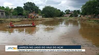 Após denúncia, lago do Vale do Açaí passa por limpeza - Após denúncia, lago do Vale do Açaí passa por limpeza