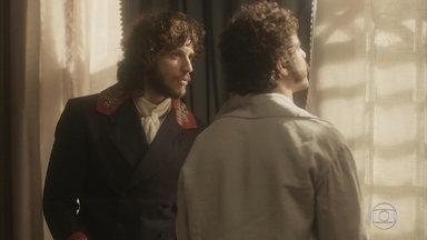 Joaquim encontra Pedro na fazenda - O príncipe desabafa com Joaquim e avisa que retornará imediatamente à Quinta