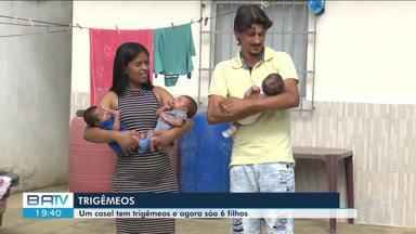 Casal passa por dificuldades após mãe dar à luz a trigêmeos e pai ficar desempregado - A família esperava mais uma menina, mas acabou com seis filhos.