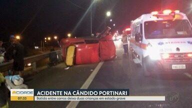 Duas crianças e quatro adultos ficam feridos em colisão traseira entre carros em Franca - Segundo a Polícia Rodoviária, um dos motoristas tinha sinais de embriaguez. Vítimas foram levadas à Santa Casa.