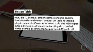 Teich diz que domingo é marcado pela alegria do Dia das Mães e tristeza com mortes no país - Um dia depois de o Brasil ter ultrapassado a marca dos dez mil mortos pelo coronavírus, o ministro da Saúde usou uma rede social pra falar sobre as vítimas da doença.